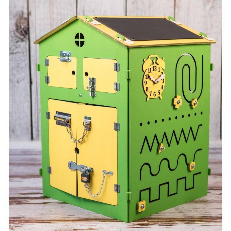 Бизиборд Дом Зеленый 60х40х40 фото