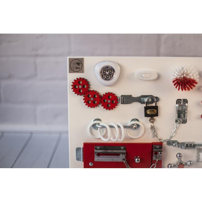 Бизиборд доска Бело-красный 60х40 фото