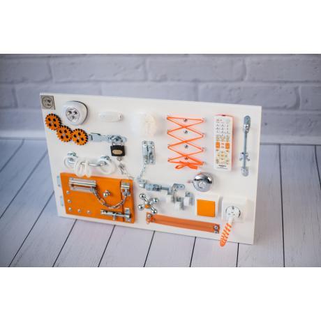 Бизиборд доска Бело-оранжевый 60х40