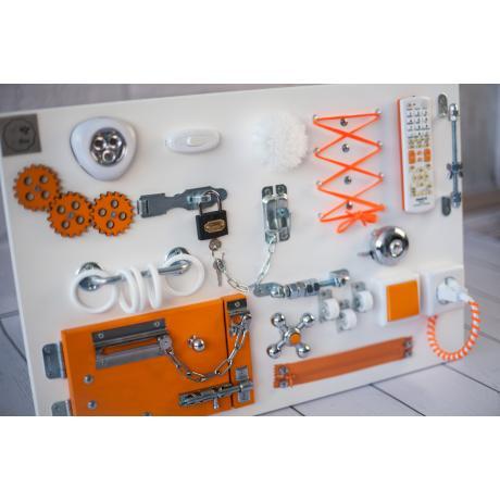 Бизиборд складной Бело-оранжевый 60х40