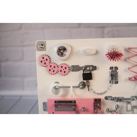 Бизиборд складной Бело-розовый 60х40
