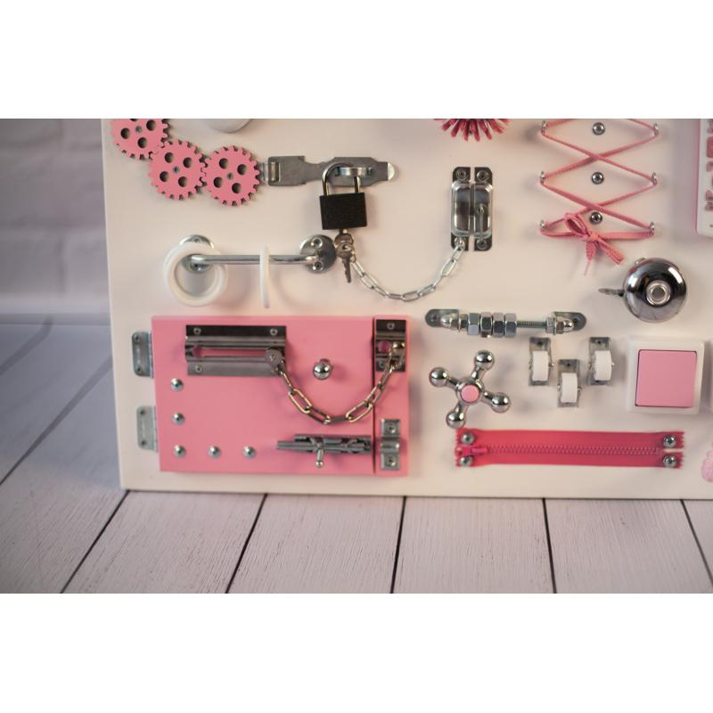 Бизиборд складной Бело-розовый 60х40 фото