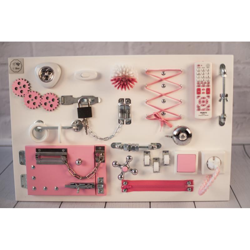 Бизиборд доска Бело-розовая 60х40 фото
