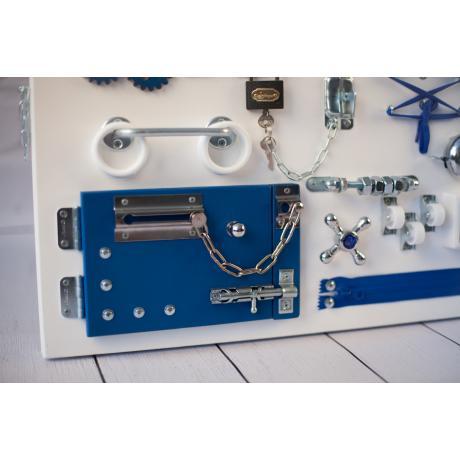 Бизиборд доска Бело-синий 60х40