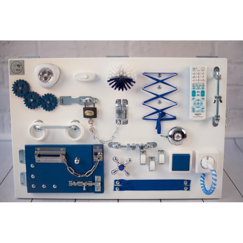 Бизиборд доска Бело-синий 60х40 фото