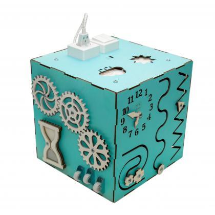 Бизи-Куб со светом мятный 30х30 см