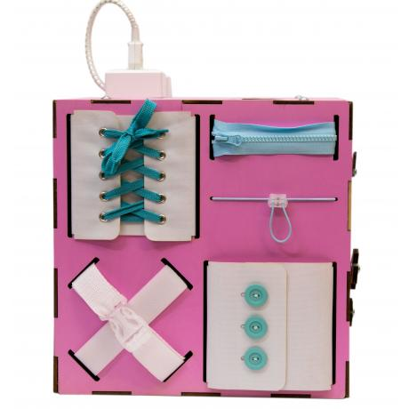 Бизи-Куб со светом розовый 30х30 см