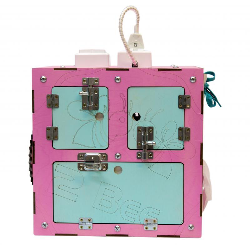 Бизи-Куб со светом розовый 30х30 см фото