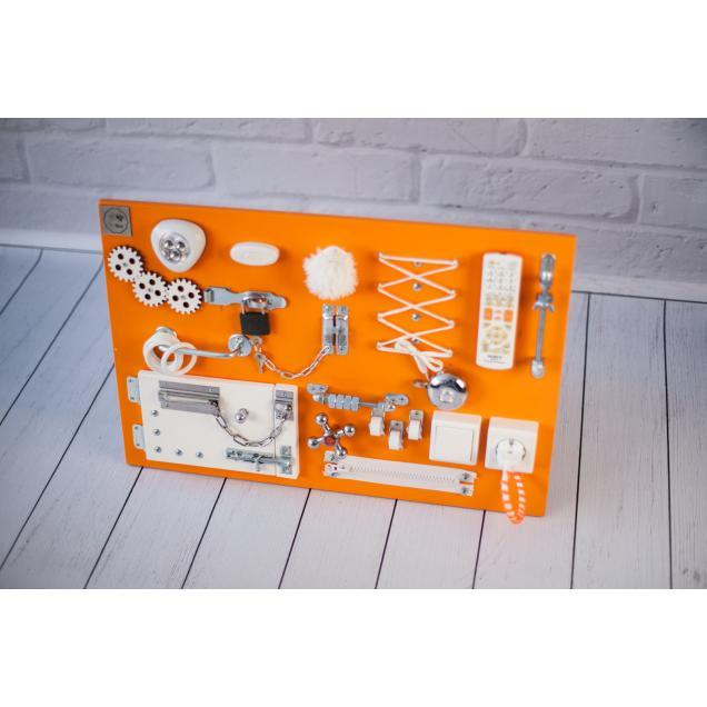 Бизиборд доска Оранжево-белый 60х40