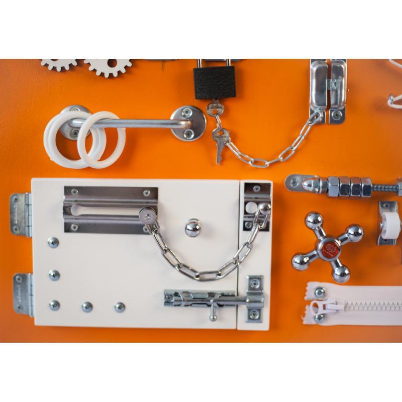 Бизиборд доска Оранжево-белый 60х40 фото
