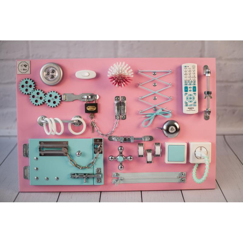 Бизиборд доска Розово-мятный 60х40 фото