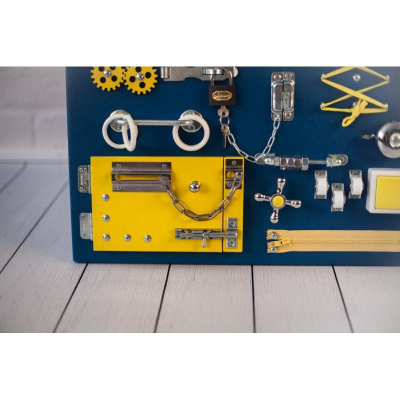 Бизиборд доска Сине-желтый 60х40 фото