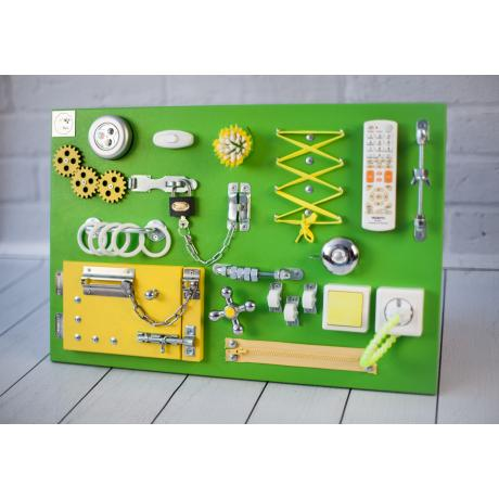 Бизиборд складной Зелено-желтый 60х40