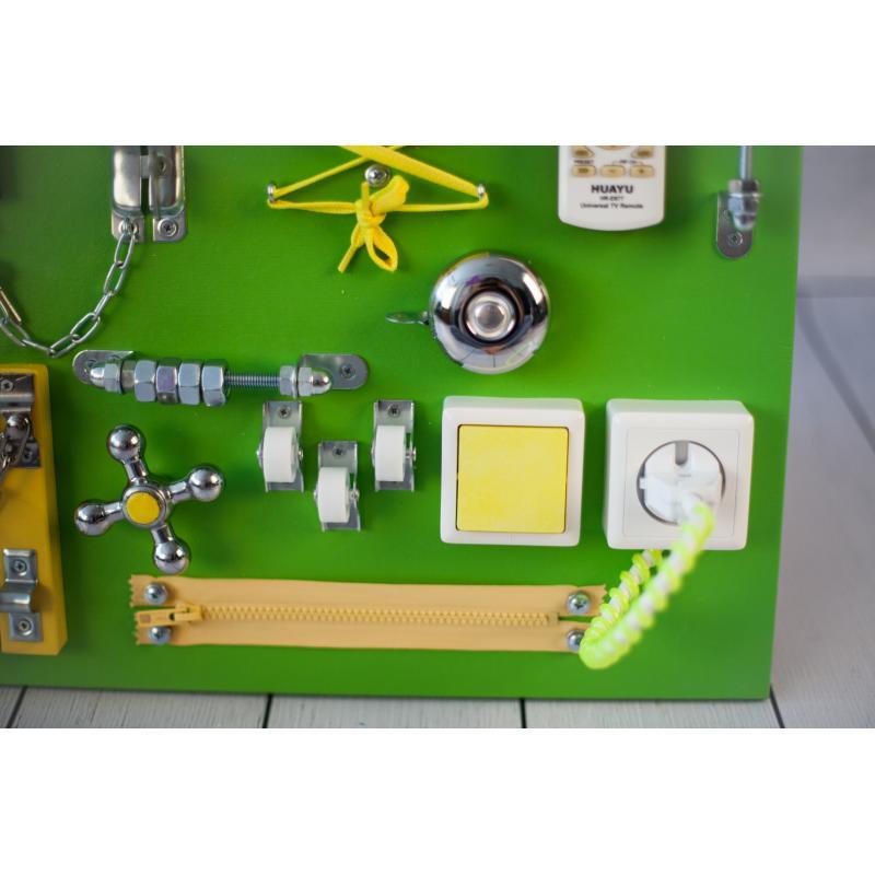 Бизиборд доска Зелено-желтый 60х40 фото