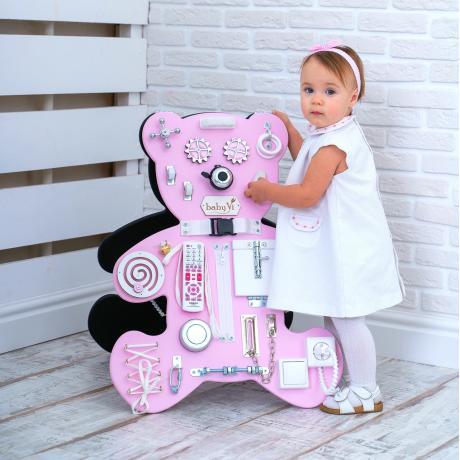 Большой Мишка со светодиодом  бело-розовый 50 х 70 см