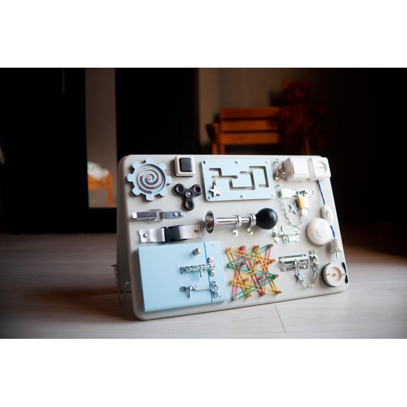 Бизидоска 60х40 двусторонняя серо-голубая фото