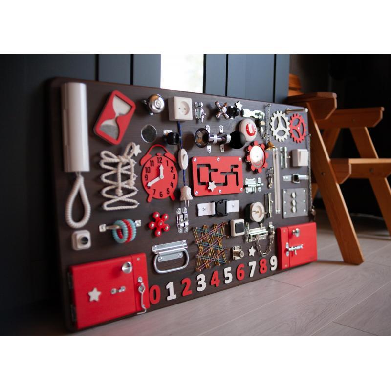 Бизиборд МАКСИ 100х60 односторонний - коричнево-красный фото