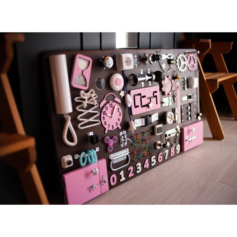 Бизиборд МАКСИ 100х60 односторонний - коричнево-розовый фото
