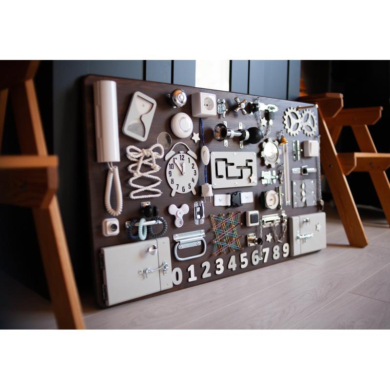 Бизиборд МАКСИ 100х60 односторонний - коричнево-белый фото