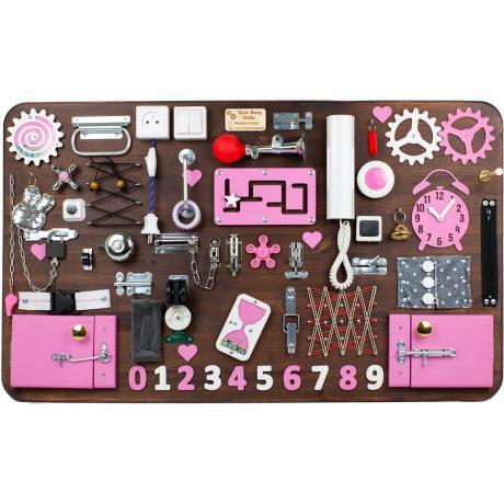 Бизиборд МАКСИ 100х60 односторонний - коричнево-розовый