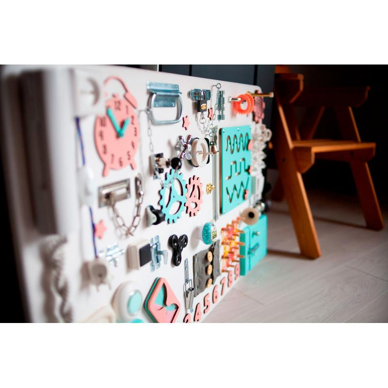 Бизиборд МАКСИ 100х60 односторонний - мятно-пудровый фото