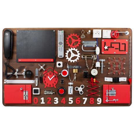 Бизиборд МАКСИ 100х60 односторонний - коричнево-красный