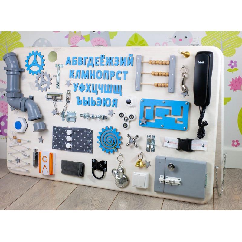 Бизиборд МАКСИ 100х60 двусторонний бело-голубой фото