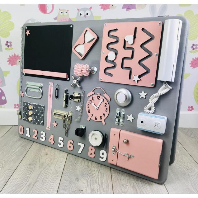 Бизиборд средний 60х80 двусторонний серо-розовый