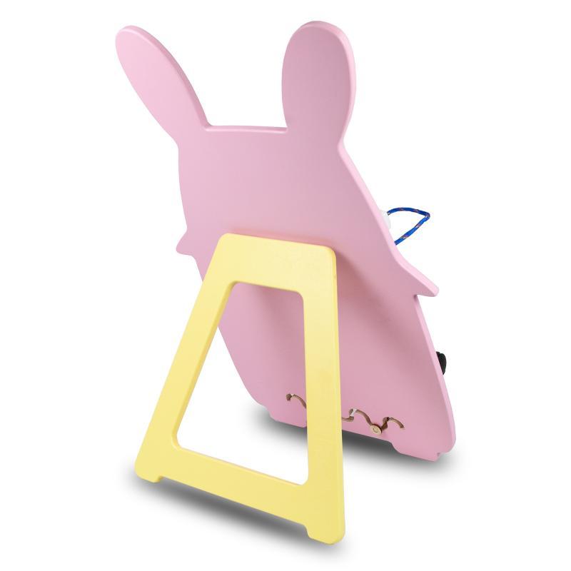 Бизиборд Зайчик 66х41 см с подставкой - розовый фото