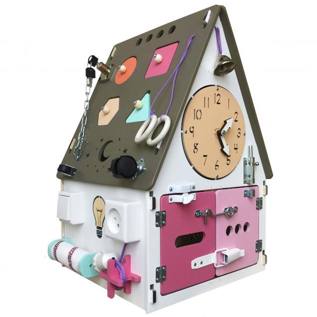 Бизиборд Домик М со светом розовый 30х30х50 см