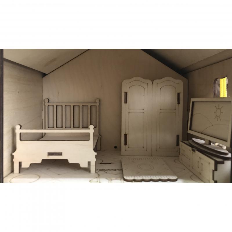 Бизидом Светлый с подсветкой, мебелью и машинкой 32х42см фото