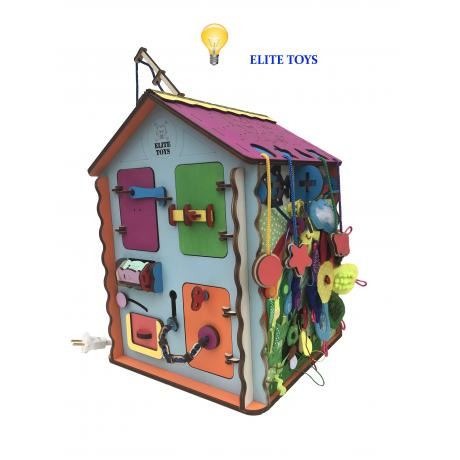 Дом-ночник со светом и мягким бизибордом 30х30х40 см