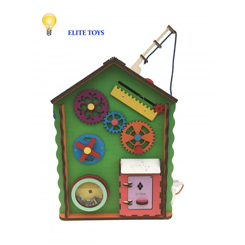 Дом-ночник со светом и мягким бизибордом 30х30х40 см фото