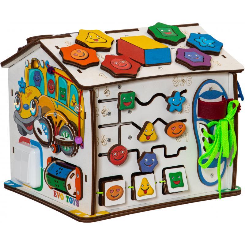 Бизиборд Домик развивающий  Смайлики в автобусе 25х25х29 см фото