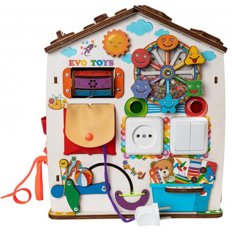 Бизиборд домик развивающий Смайлики на аттракционе со светом фото