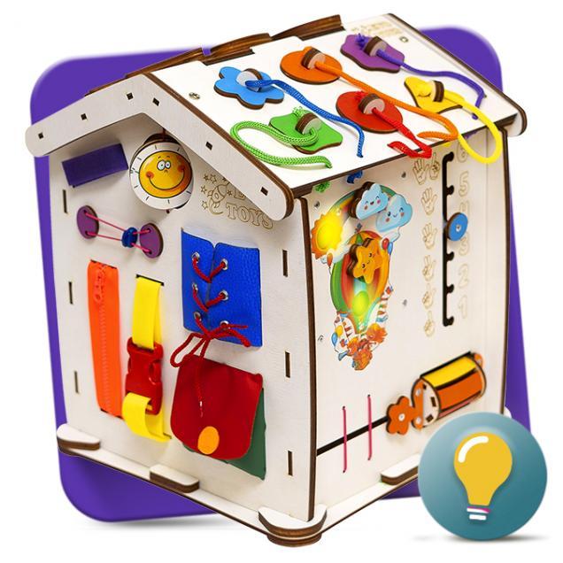 Бизиборд домик Знайка Семицвет Мини 30X35 со светом