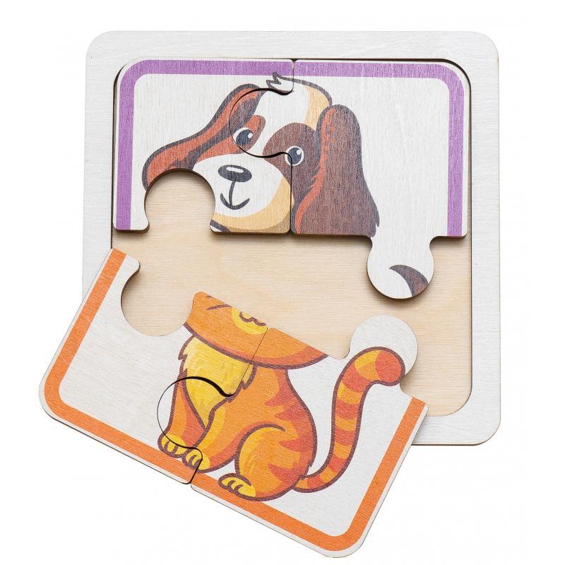 Двусторонний пазл для самых маленьких - Собачка и Котик фото