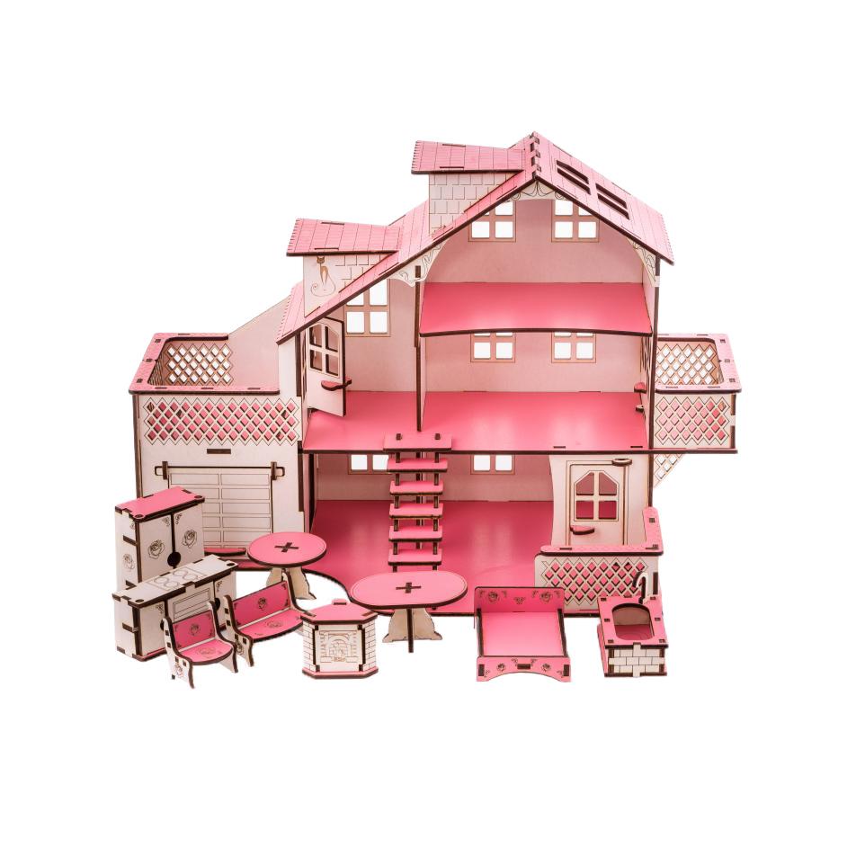 Кукольный домик с гаражем 27х52х35 см
