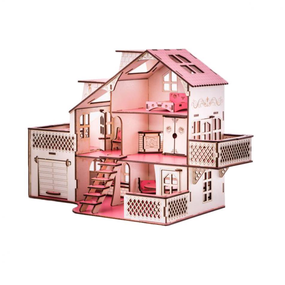 Кукольный домик с гаражем 27х52х35 см со светом