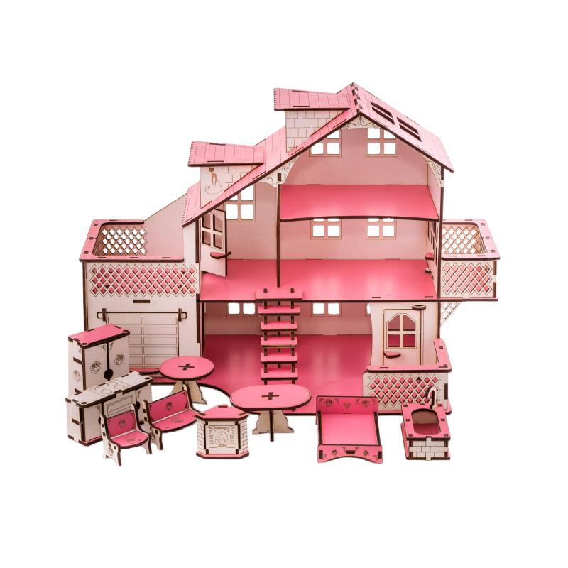 Кукольный домик с гаражем 27х52х35 см со светом фото