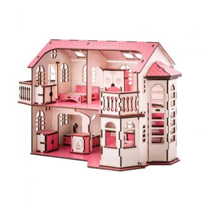 Кукольный домик с эркерами 27х52х35 см со светом