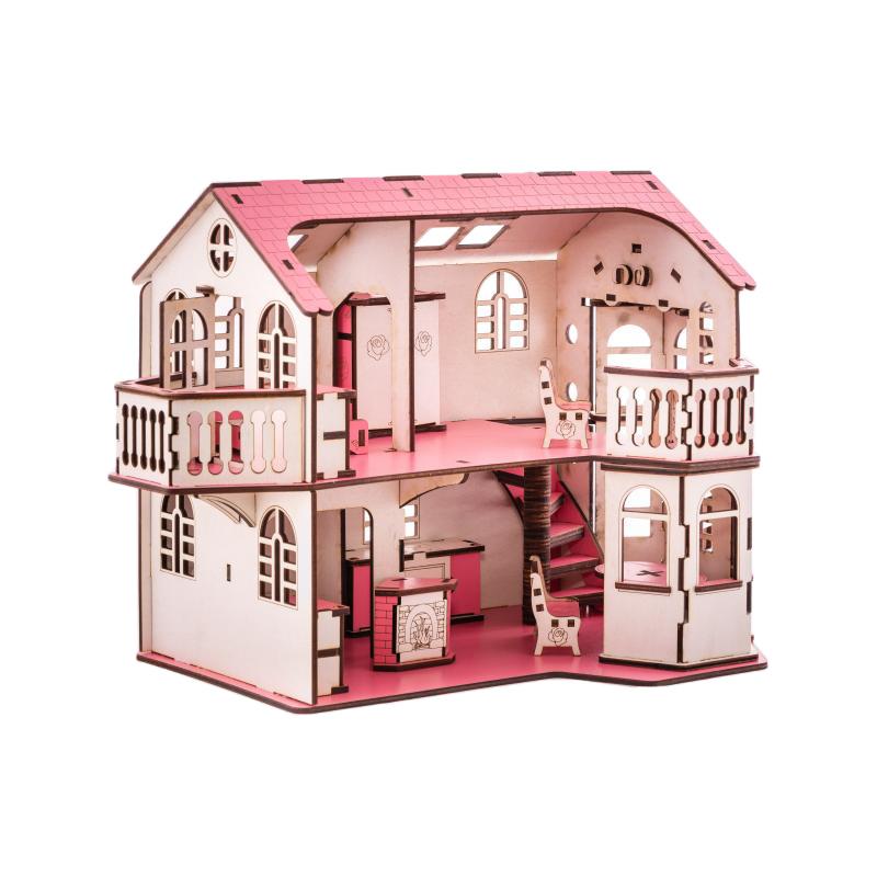 Кукольный домик с эркерами 27х52х35 см со светом фото