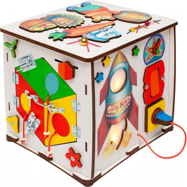 Бизиборд Кубик мультик со светом «Полет на ракете» 27х26х27 см