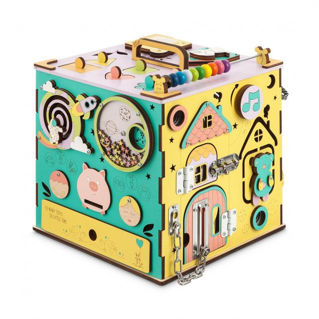 Бизикуб цветной с музыкой и светом 30х30 см