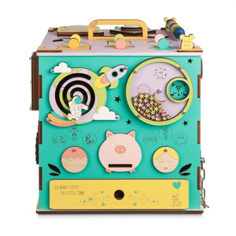Бизикуб цветной с музыкой и светом 30х30 см фото
