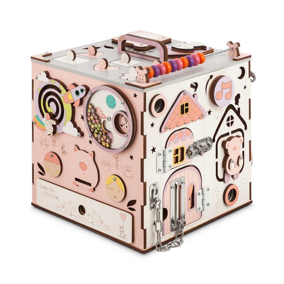 Бизикуб розовый с музыкой и светом 30х30 см