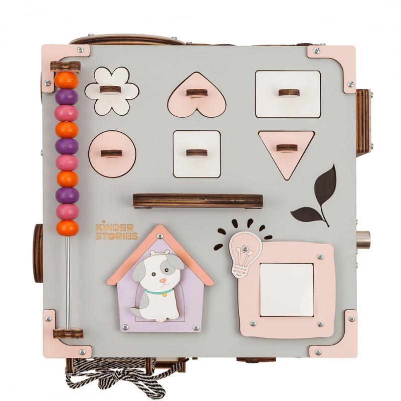 Бизикуб розовый с музыкой и светом 30х30 см фото