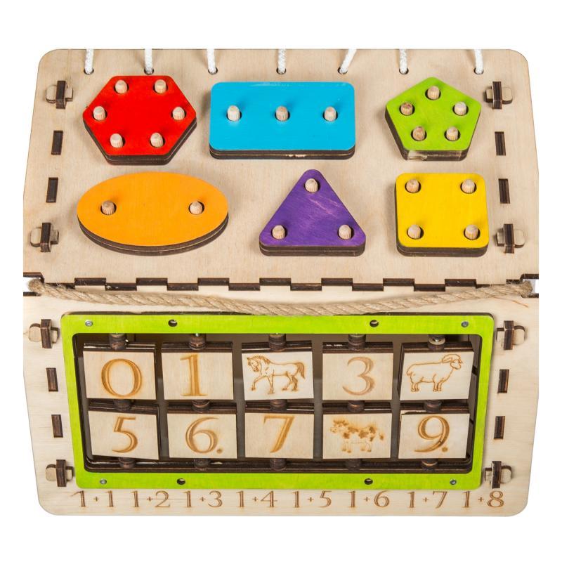 """Бизиборд """"Яблочный домик"""" со светом (алфавит в подарок) фото"""