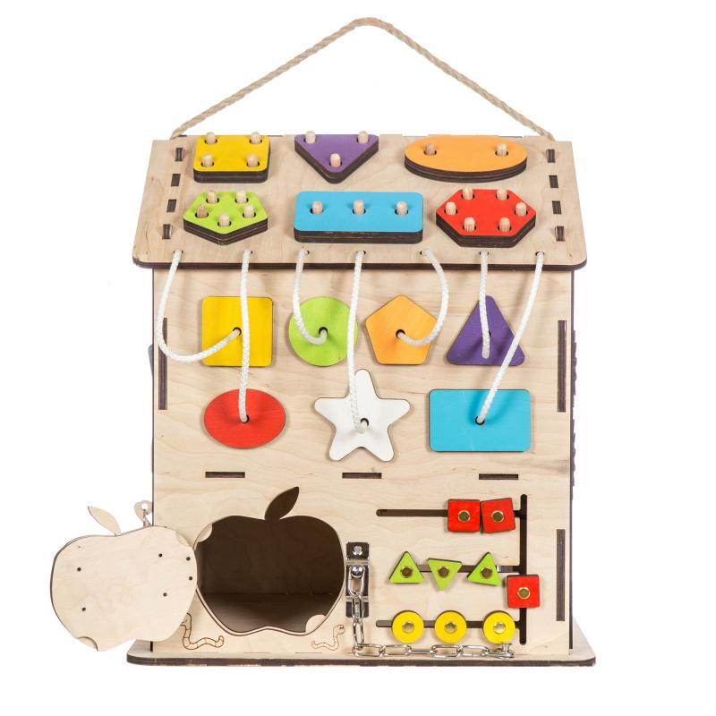 """Бизиборд """"Яблочный домик"""" с Геобордом (алфавит в подарок) фото"""