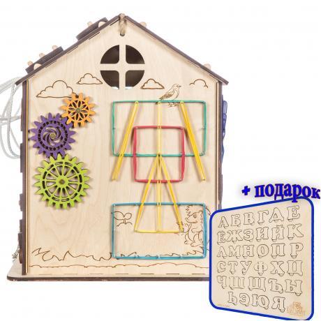"""Бизиборд """"Яблочный домик"""" с Геобордом (алфавит в подарок)"""